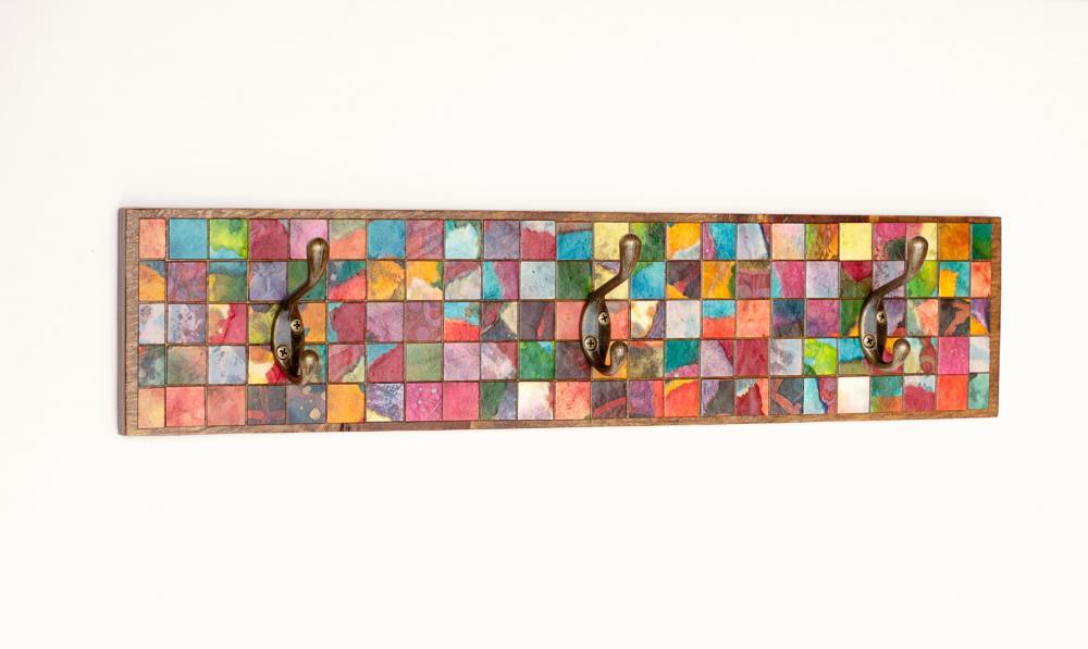 Wall Coat Rack Mosaic Handmade Paper Reclaimed Wood