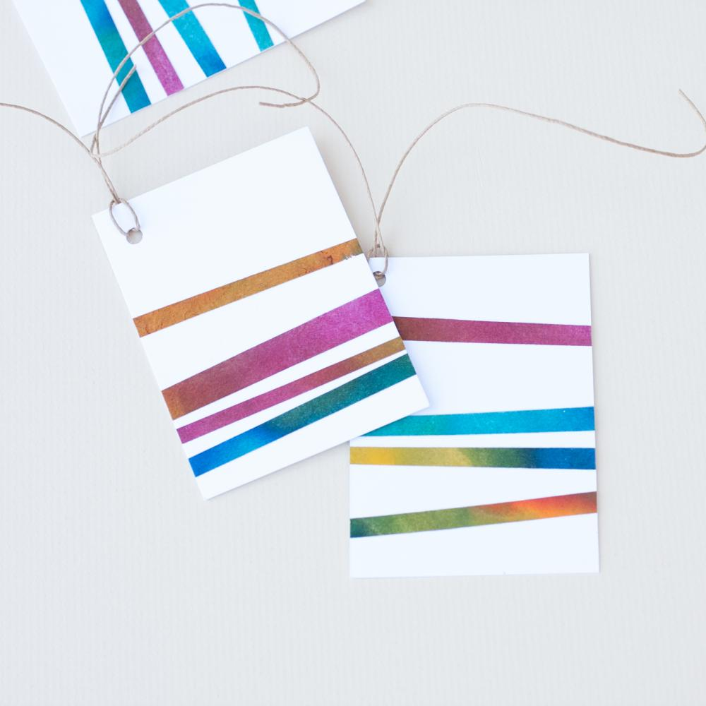 Gift Tag Handmade Paper Colorful Striped Set