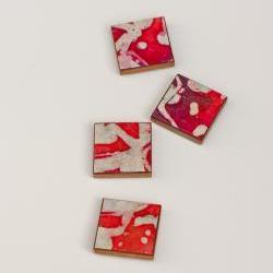 Magnets Handmade Paper Red Batik