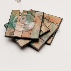 Handmade Paper Coasters Striped Earth Tones