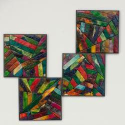 Coasters Handmade Paper Colorful Geometric Stripes
